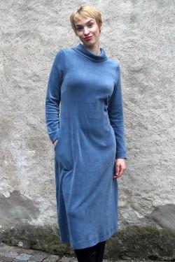 Velour dress with polo neck