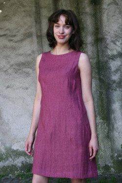 Linen dress, small square